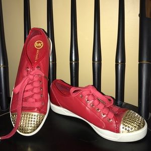 BRAND NEW  Michael Kors red & gold sneakers